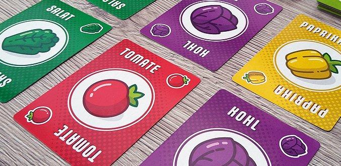 Ensalada revisión del juego de cartas de puntuación verduras